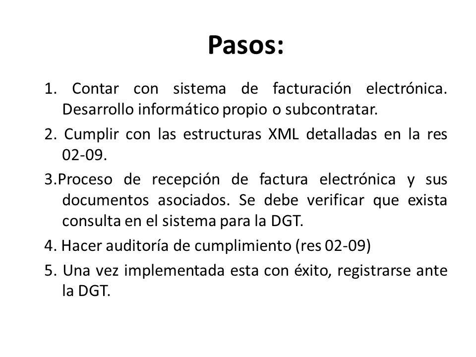 Pasos: 1. Contar con sistema de facturación electrónica. Desarrollo informático propio o subcontratar. 2. Cumplir con las estructuras XML detalladas e