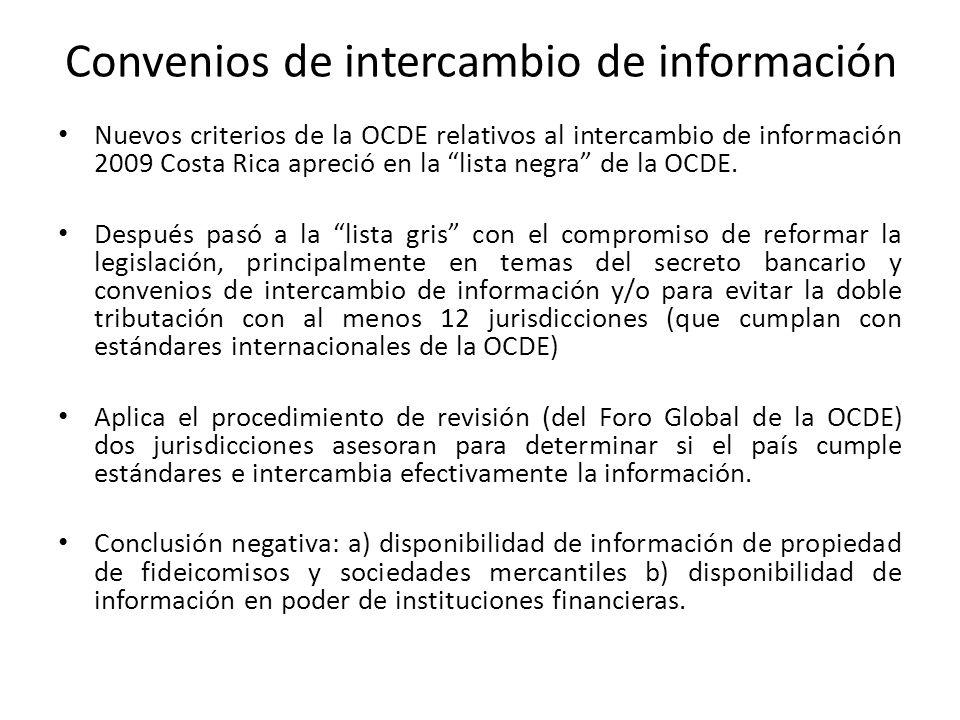 Convenios de intercambio de información Nuevos criterios de la OCDE relativos al intercambio de información 2009 Costa Rica apreció en la lista negra