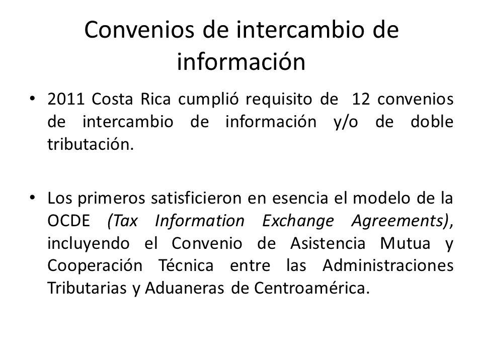 Convenios de intercambio de información 2011 Costa Rica cumplió requisito de 12 convenios de intercambio de información y/o de doble tributación. Los