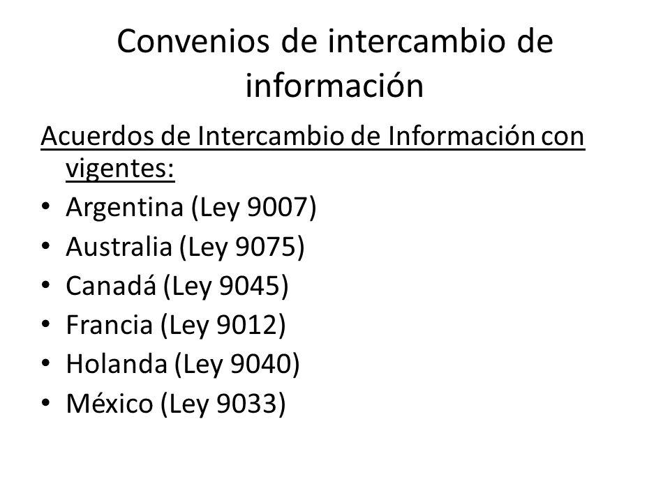 Convenios de intercambio de información Acuerdos de Intercambio de Información con vigentes: Argentina (Ley 9007) Australia (Ley 9075) Canadá (Ley 904