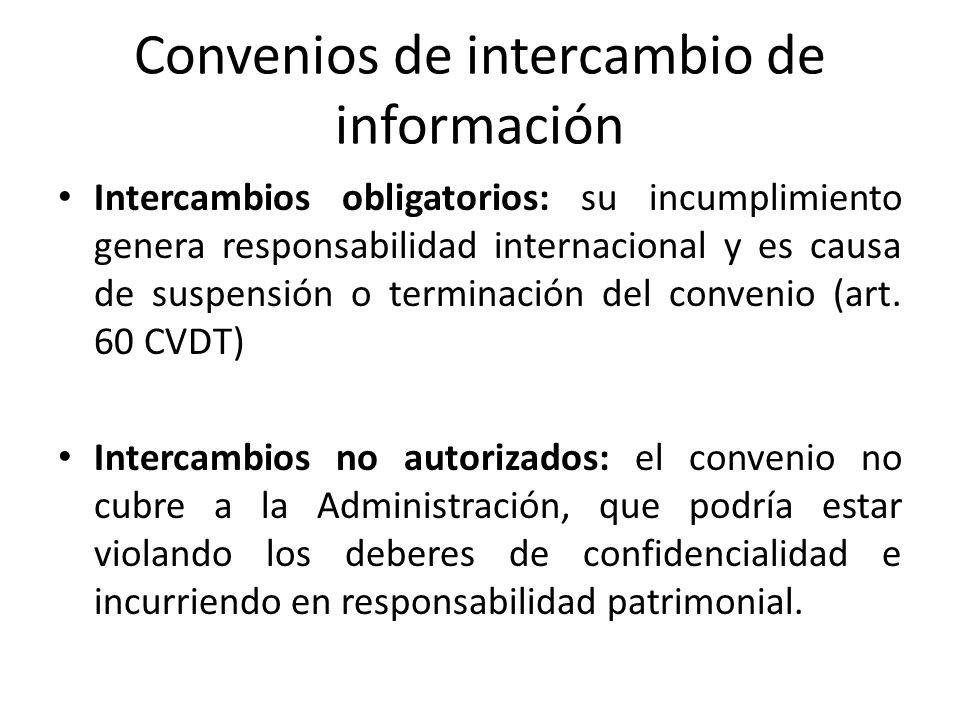 Convenios de intercambio de información Intercambios obligatorios: su incumplimiento genera responsabilidad internacional y es causa de suspensión o t