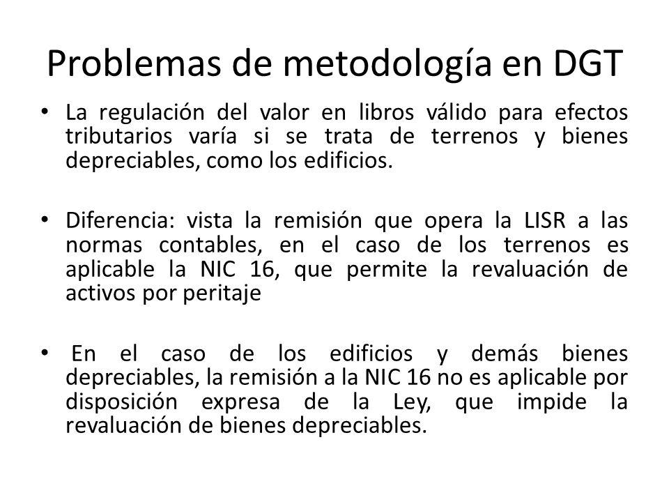 Problemas de metodología en DGT La regulación del valor en libros válido para efectos tributarios varía si se trata de terrenos y bienes depreciables,