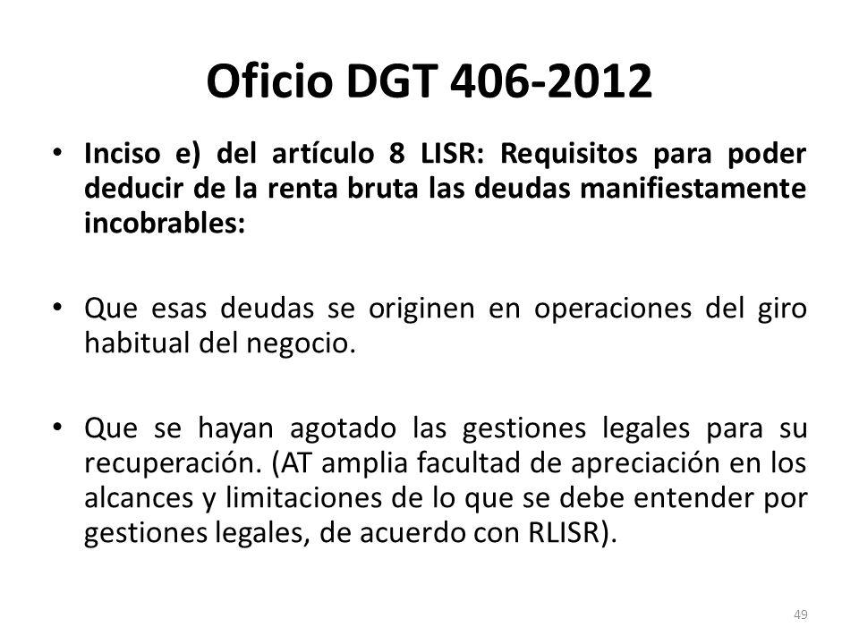Oficio DGT 406-2012 Inciso e) del artículo 8 LISR: Requisitos para poder deducir de la renta bruta las deudas manifiestamente incobrables: Que esas de