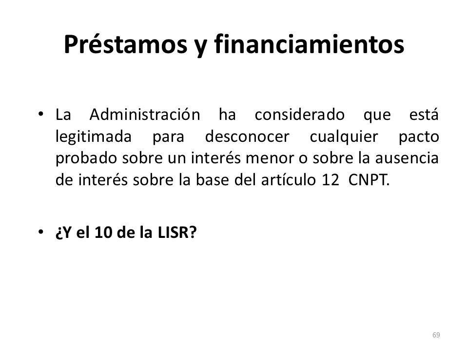 Préstamos y financiamientos La Administración ha considerado que está legitimada para desconocer cualquier pacto probado sobre un interés menor o sobr