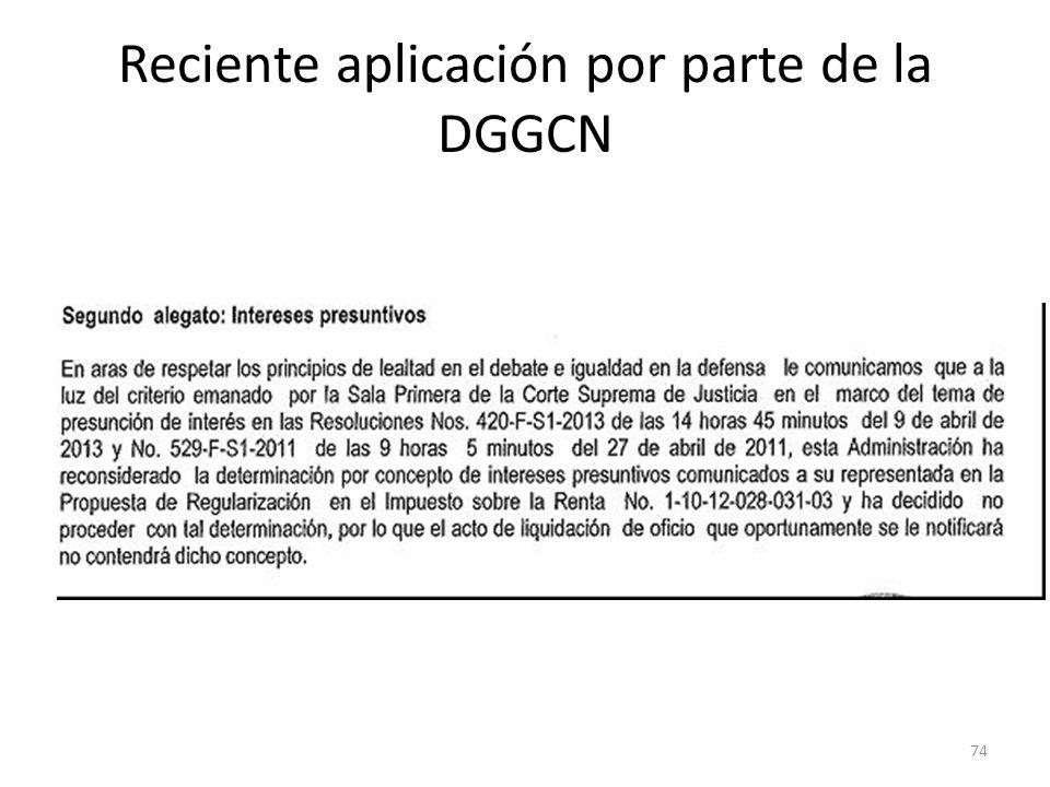 Reciente aplicación por parte de la DGGCN 74