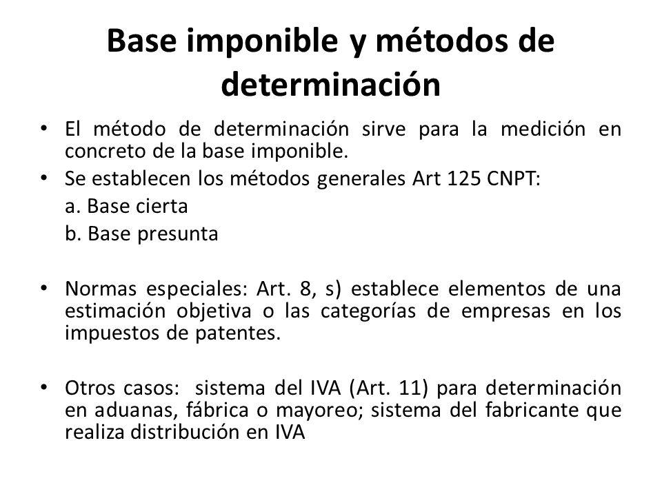 Base imponible y métodos de determinación El método de determinación sirve para la medición en concreto de la base imponible. Se establecen los método