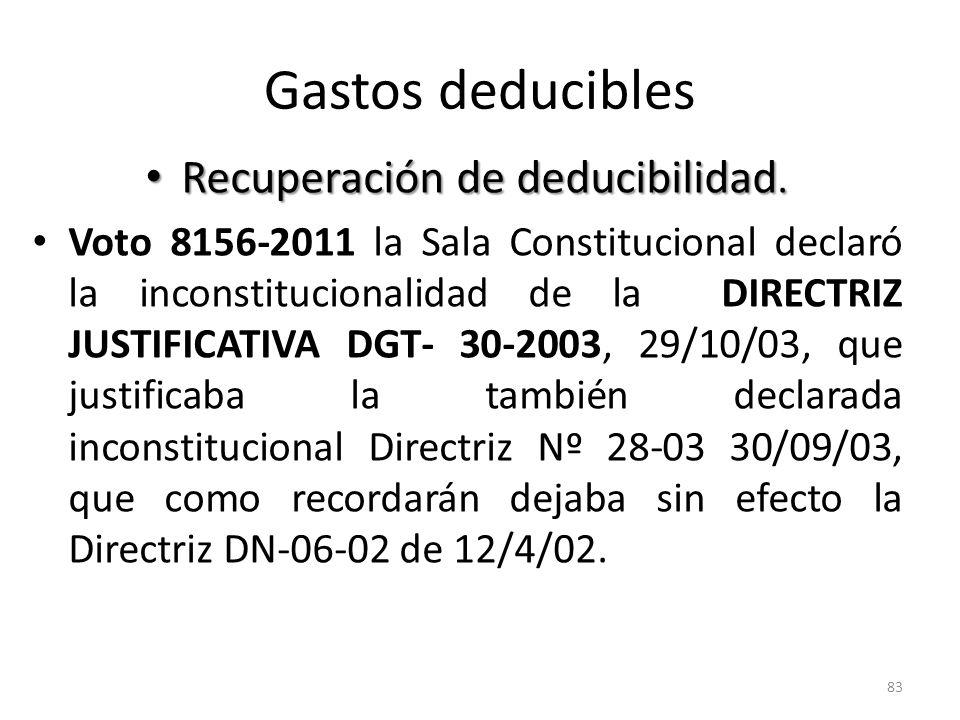 Gastos deducibles Recuperación de deducibilidad. Recuperación de deducibilidad. Voto 8156-2011 la Sala Constitucional declaró la inconstitucionalidad