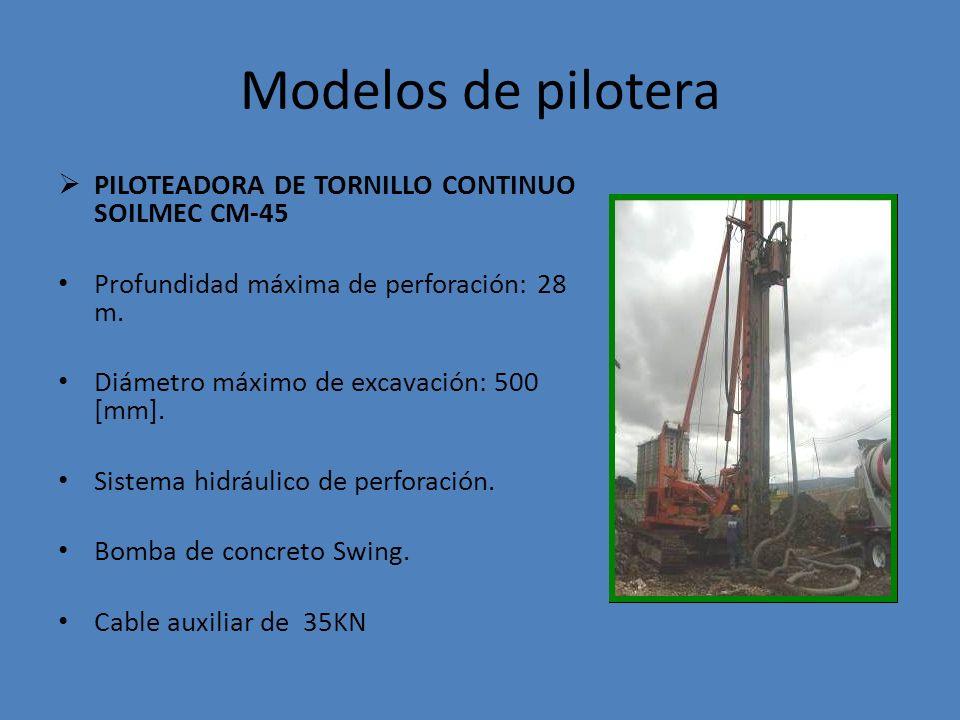 Modelos de pilotera PILOTEADORA DE TORNILLO CONTINUO SOILMEC CM-45 Profundidad máxima de perforación: 28 m.