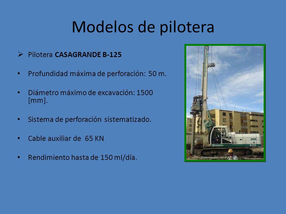 Modelos de pilotera PILOTEADORA SOILMEC SR-30 Profundidad máxima de excavación: 48 m Diámetro máximo de excavación: 1500 [mm].