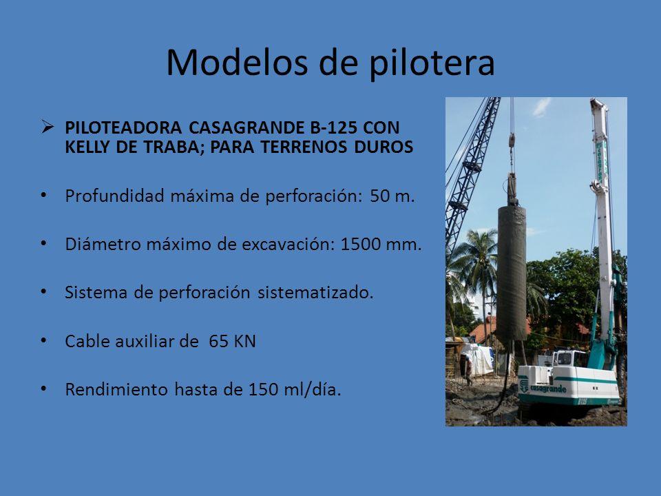 Modelos de pilotera PILOTEADORA CASAGRANDE B-125 CON KELLY DE TRABA; PARA TERRENOS DUROS Profundidad máxima de perforación: 50 m.