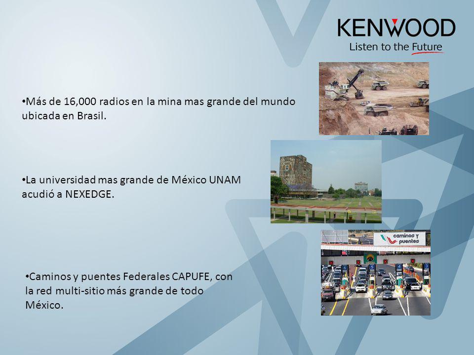 Más de 16,000 radios en la mina mas grande del mundo ubicada en Brasil. La universidad mas grande de México UNAM acudió a NEXEDGE. Caminos y puentes F
