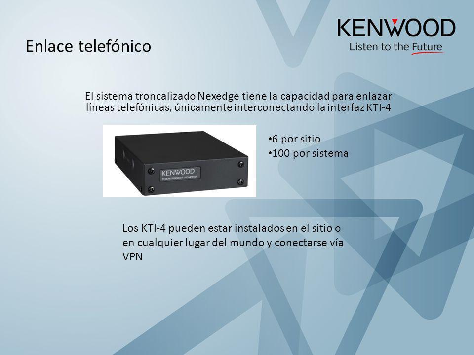 El sistema troncalizado Nexedge tiene la capacidad para enlazar líneas telefónicas, únicamente interconectando la interfaz KTI-4 6 por sitio 100 por s