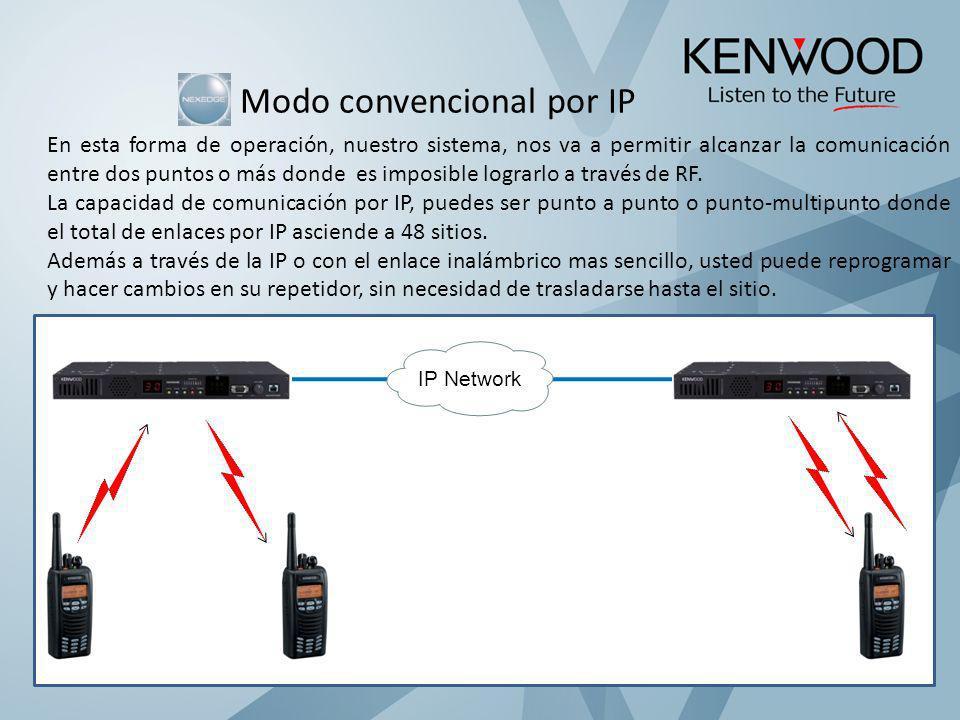 Modo convencional por IP En esta forma de operación, nuestro sistema, nos va a permitir alcanzar la comunicación entre dos puntos o más donde es impos