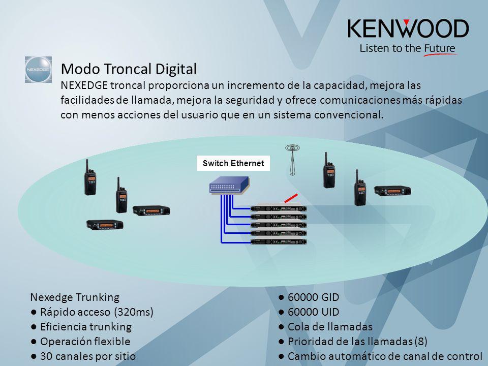 Modo Troncal Digital NEXEDGE troncal proporciona un incremento de la capacidad, mejora las facilidades de llamada, mejora la seguridad y ofrece comuni