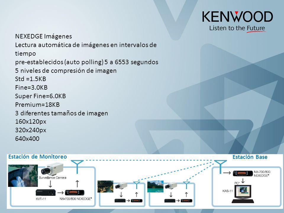 NEXEDGE Imágenes Lectura automática de imágenes en intervalos de tiempo pre-establecidos (auto polling) 5 a 6553 segundos 5 niveles de compresión de i