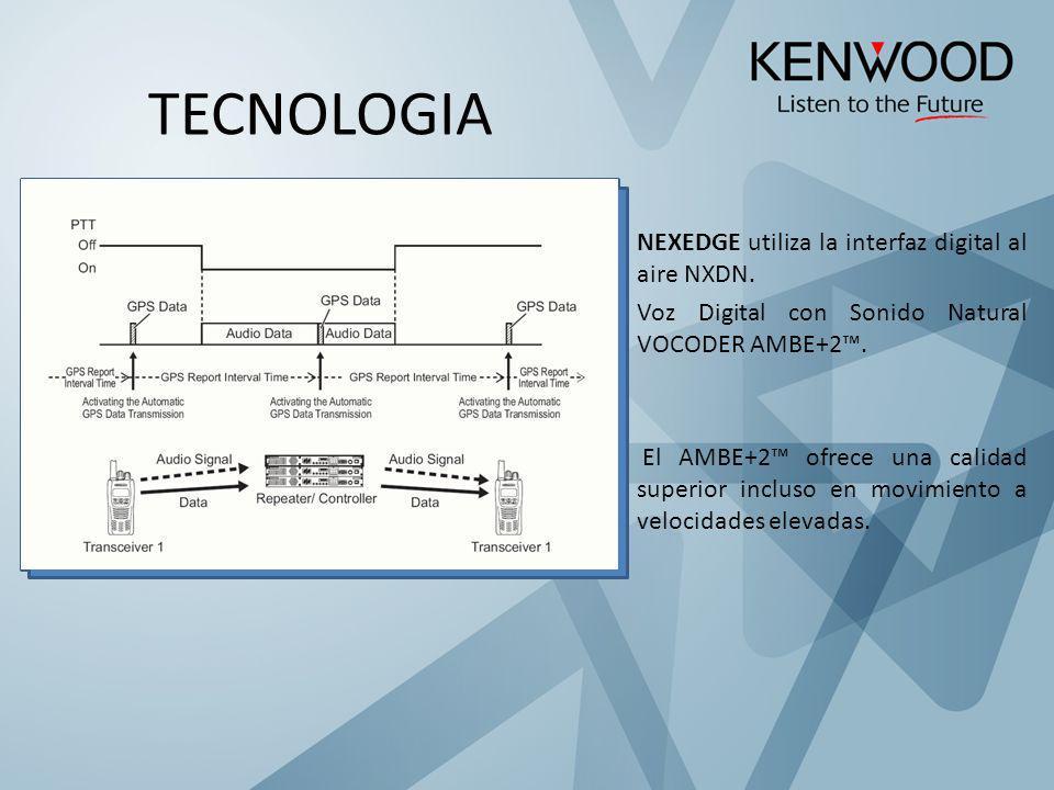NEXEDGE utiliza la interfaz digital al aire NXDN. Voz Digital con Sonido Natural VOCODER AMBE+2. El AMBE+2 ofrece una calidad superior incluso en movi