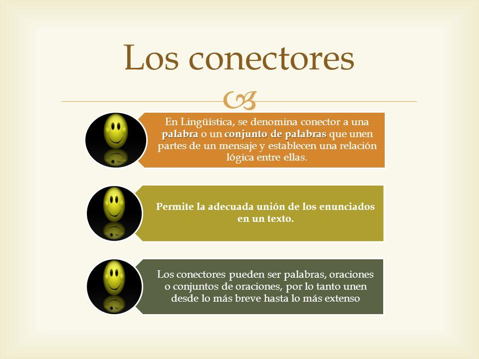 palabraconjunto de palabras En Lingüística, se denomina conector a una palabra o un conjunto de palabras que unen partes de un mensaje y establecen un