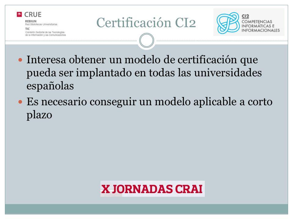 Certificación CI2 Interesa obtener un modelo de certificación que pueda ser implantado en todas las universidades españolas Es necesario conseguir un modelo aplicable a corto plazo