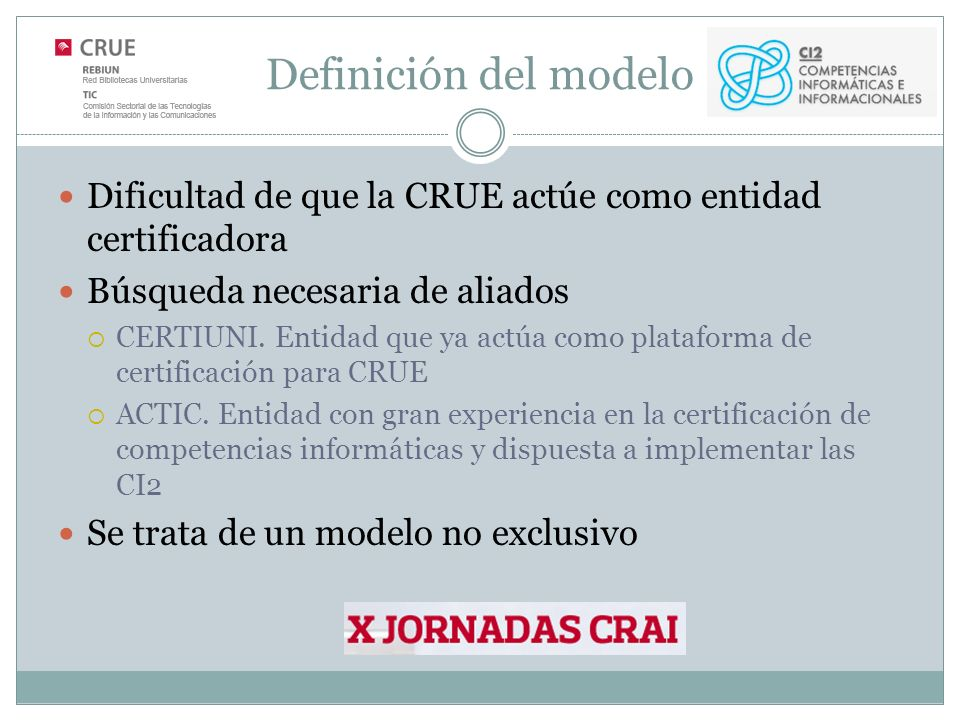 Definición del modelo Dificultad de que la CRUE actúe como entidad certificadora Búsqueda necesaria de aliados CERTIUNI.