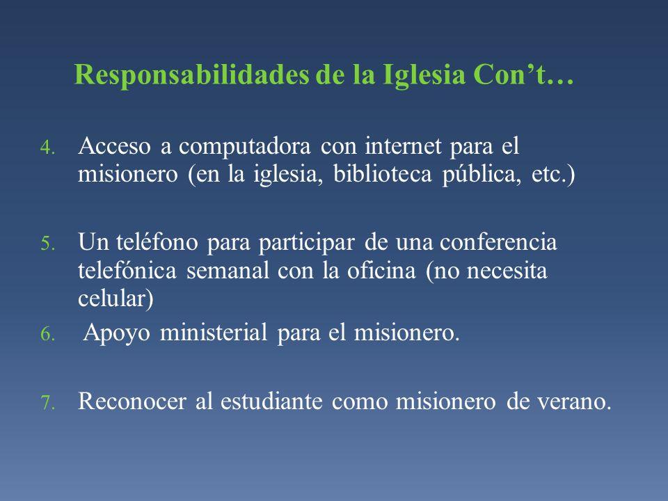 4. Acceso a computadora con internet para el misionero (en la iglesia, biblioteca pública, etc.) 5. Un teléfono para participar de una conferencia tel
