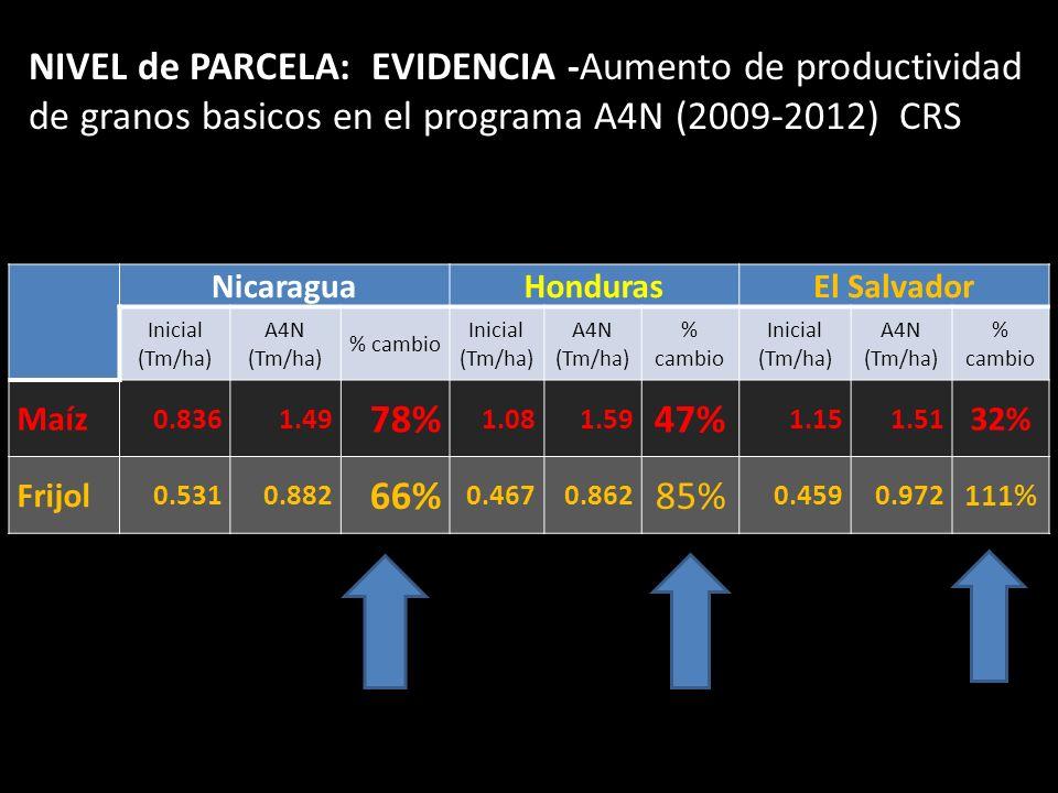 NicaraguaHondurasEl Salvador Inicial (Tm/ha) A4N (Tm/ha) % cambio Inicial (Tm/ha) A4N (Tm/ha) % cambio Inicial (Tm/ha) A4N (Tm/ha) % cambio Maíz 0.836