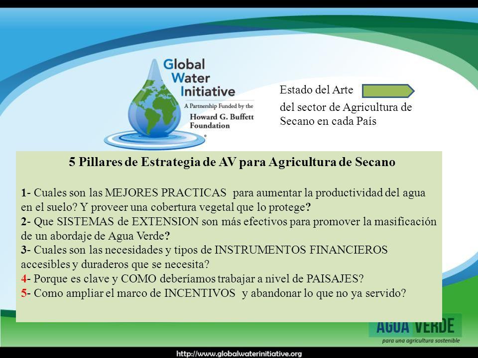 5 Pillares de Estrategia de AV para Agricultura de Secano 1- Cuales son las MEJORES PRACTICAS para aumentar la productividad del agua en el suelo? Y p