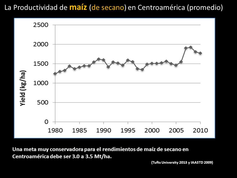 La Productividad de maíz (de secano) en Centroamérica (promedio) Una meta muy conservadora para el rendimientos de maíz de secano en Centroamérica deb