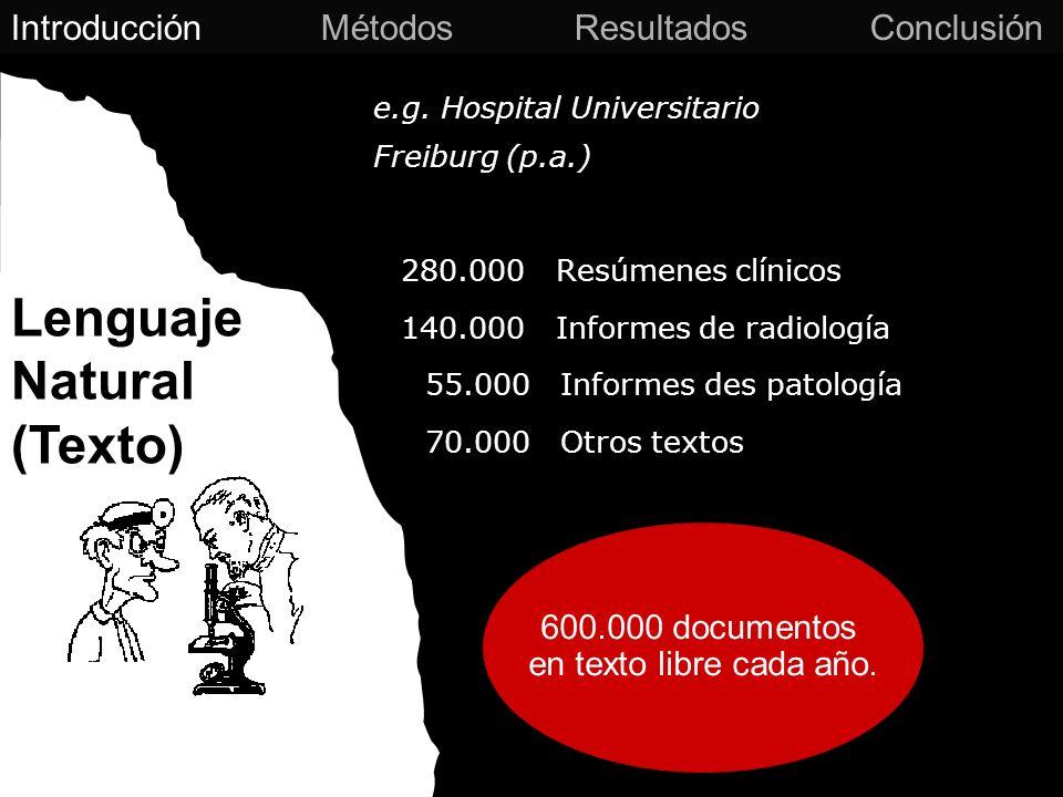 e.g. Hospital Universitario Freiburg (p.a.) 280.000 Resúmenes clínicos 140.000 Informes de radiología 55.000 Informes des patología 70.000 Otros texto