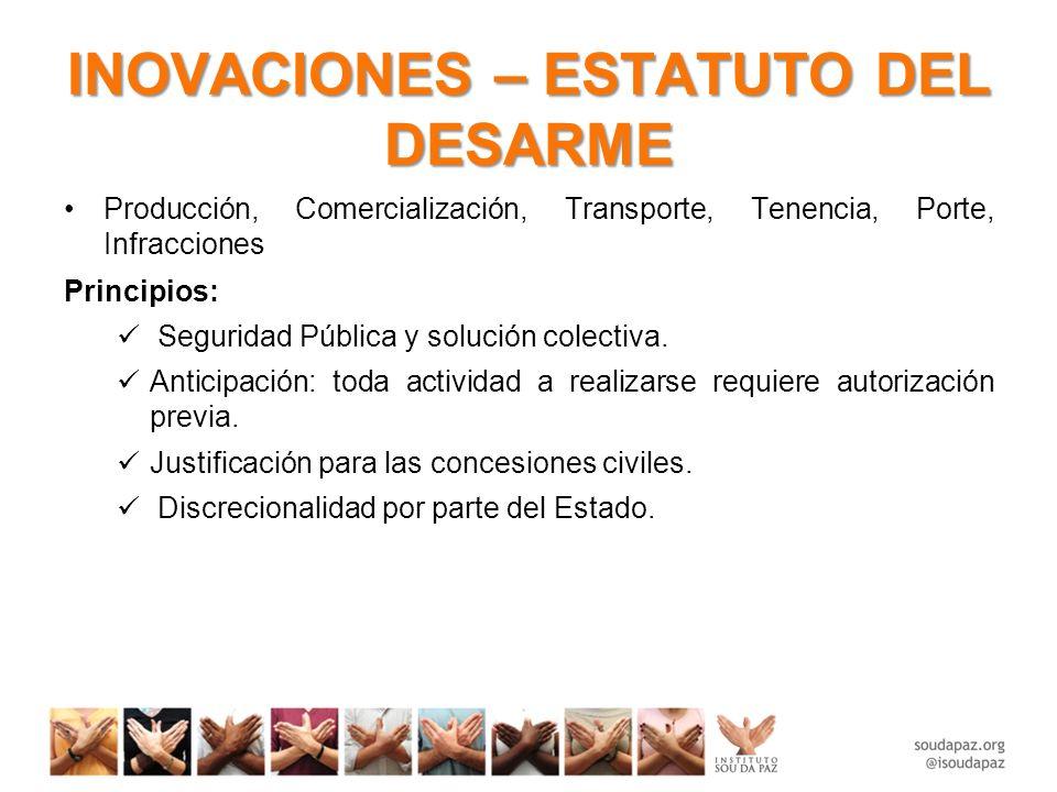 INOVACIONES – ESTATUTO DEL DESARME Medidas principales: Prohibición al porte civil.