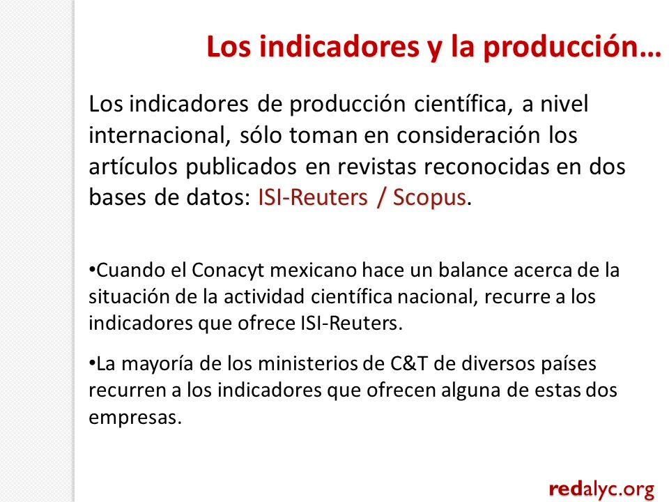 ISI-Reuters / Scopus Los indicadores de producción científica, a nivel internacional, sólo toman en consideración los artículos publicados en revistas