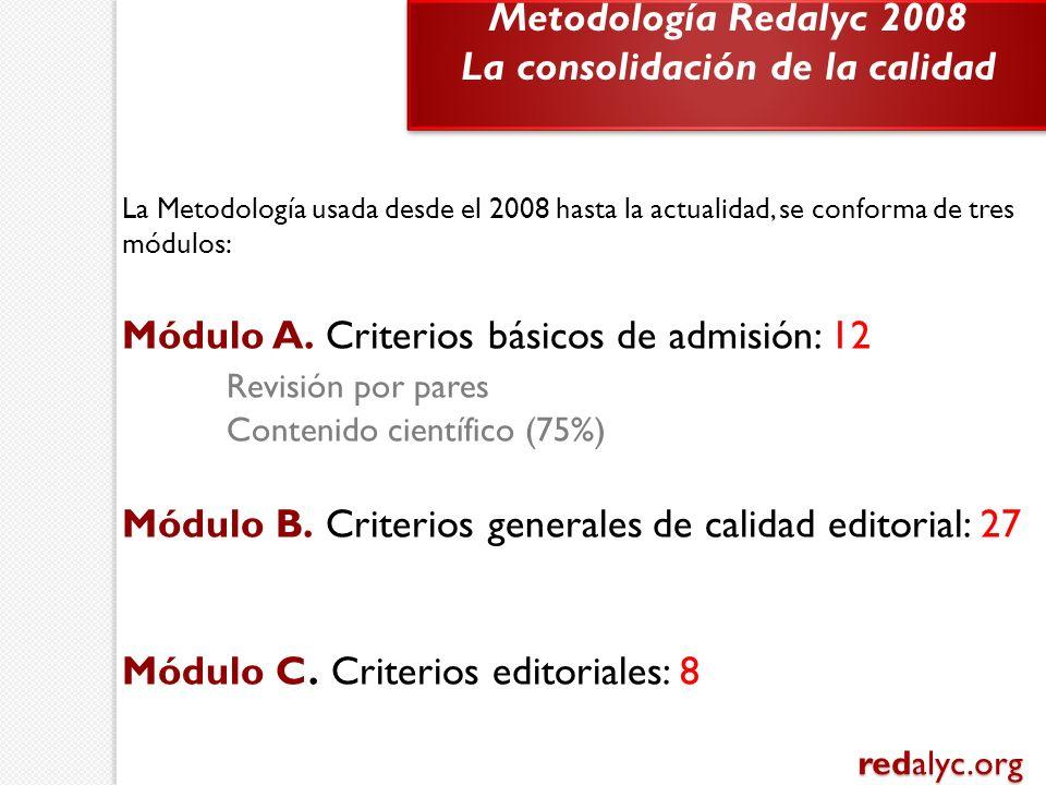 La Metodología usada desde el 2008 hasta la actualidad, se conforma de tres módulos: Módulo A. Criterios básicos de admisión: 12 Revisión por pares Co