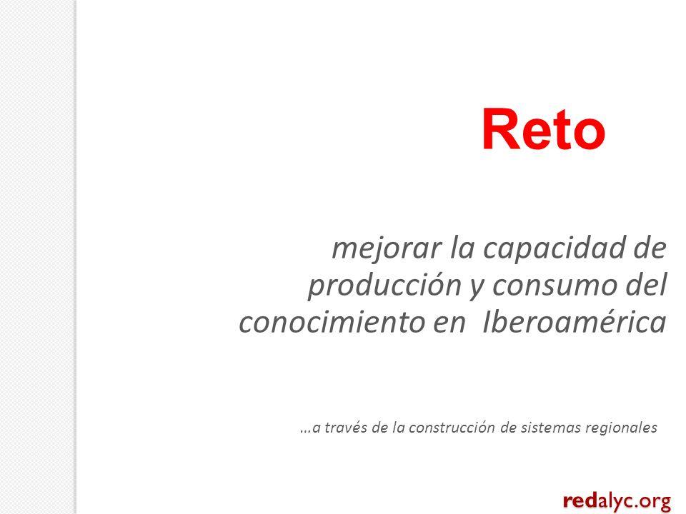 mejorar la capacidad de producción y consumo del conocimiento en Iberoamérica …a través de la construcción de sistemas regionales Reto redalyc.org