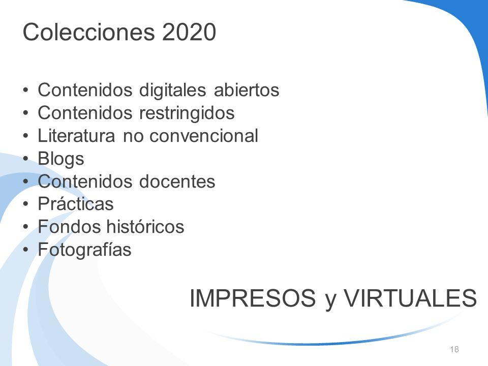 18 Colecciones 2020 Contenidos digitales abiertos Contenidos restringidos Literatura no convencional Blogs Contenidos docentes Prácticas Fondos histór