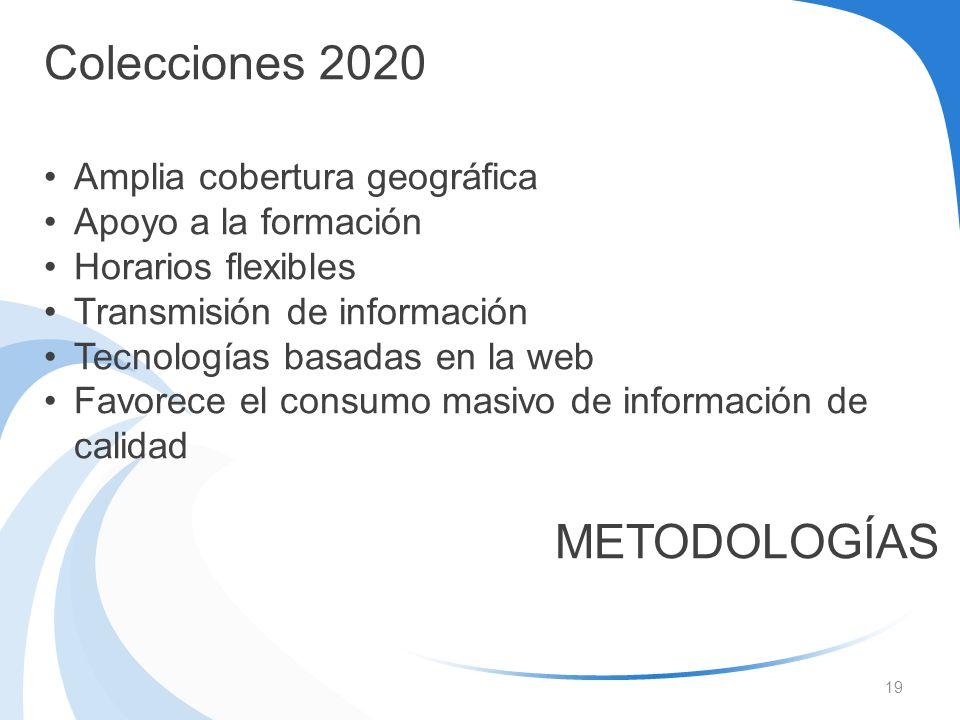 19 Colecciones 2020 Amplia cobertura geográfica Apoyo a la formación Horarios flexibles Transmisión de información Tecnologías basadas en la web Favor