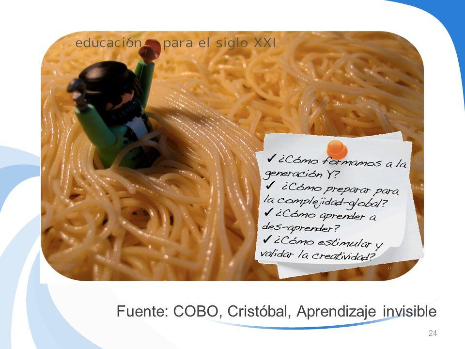 24 Fuente: COBO, Cristóbal, Aprendizaje invisible