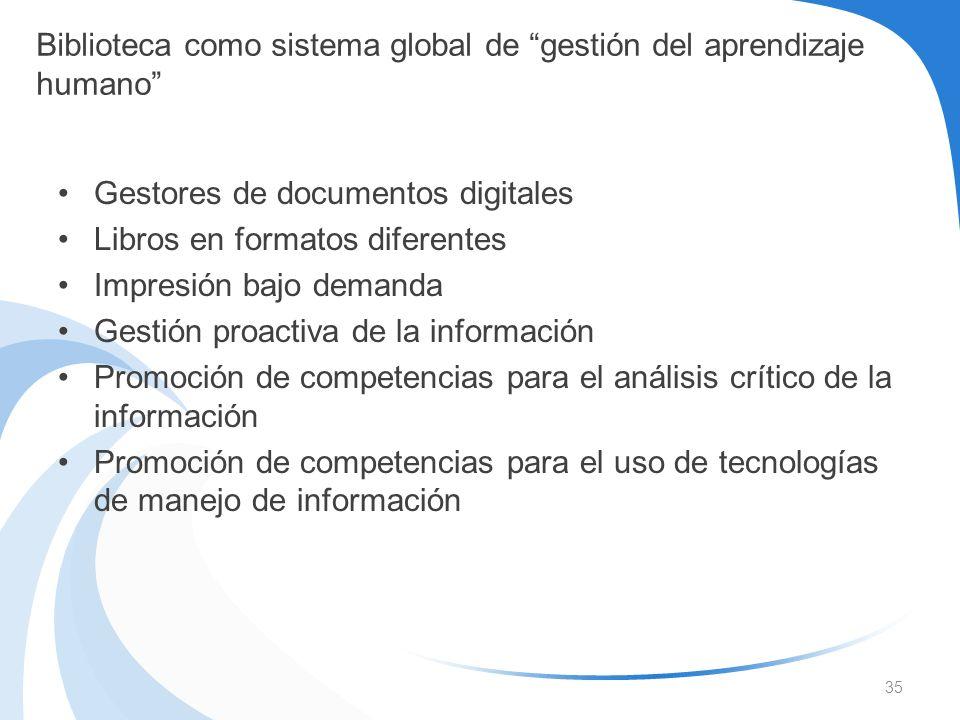 Gestores de documentos digitales Libros en formatos diferentes Impresión bajo demanda Gestión proactiva de la información Promoción de competencias pa