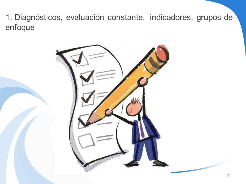 37 1. Diagnósticos, evaluación constante, indicadores, grupos de enfoque