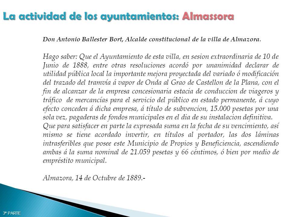 Don Antonio Ballester Bort, Alcalde constitucional de la villa de Almazora.