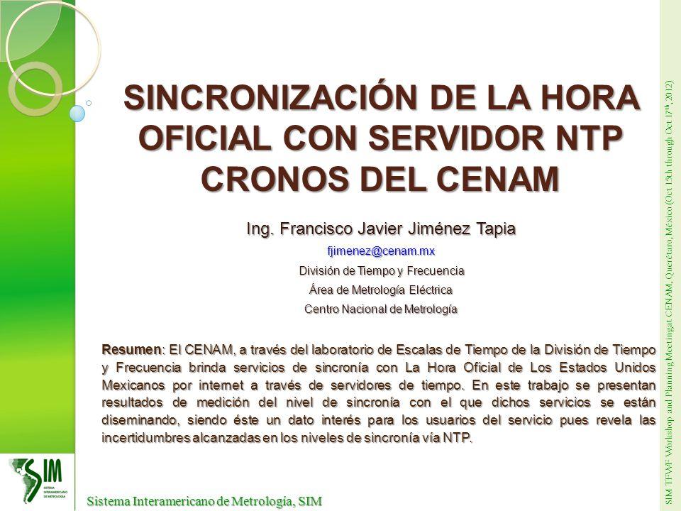 SIM TFWF Workshop and Planning Meeting at CENAM, Querétaro, México (Oct 15th through Oct 17 th, 2012) Sistema Interamericano de Metrología, SIM Sistema Interamericano de Metrología, SIM CONTENIDO Introducción Introducción UTC(CNM) UTC(CNM) El protocolo NTP El protocolo NTP Sincronización mediante NTP Sincronización mediante NTP Medición de sincronía con el UTC(CNM) Medición de sincronía con el UTC(CNM) Conclusiones Conclusiones