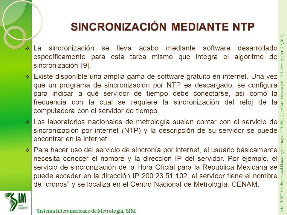 SIM TFWF Workshop and Planning Meeting at CENAM, Querétaro, México (Oct 15th through Oct 17 th, 2012) Sistema Interamericano de Metrología, SIM Sistema Interamericano de Metrología, SIM MEDICIÓN DE SINCRONIA CON EL UTC(CNM) Mediciones Fuente de sincronía: UTC(CNM) cronos LocalTimePC Fuente de sincronía: UTC(CNM) cronos LocalTimePC