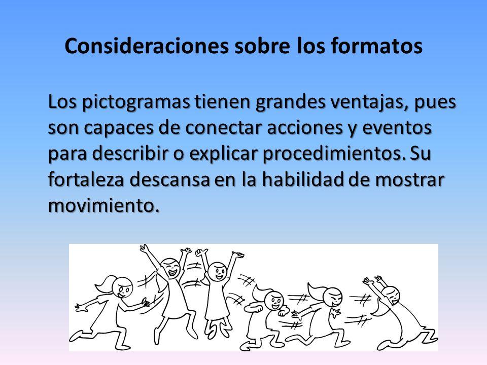 Consideraciones sobre los formatos Los pictogramas tienen grandes ventajas, pues son capaces de conectar acciones y eventos para describir o explicar