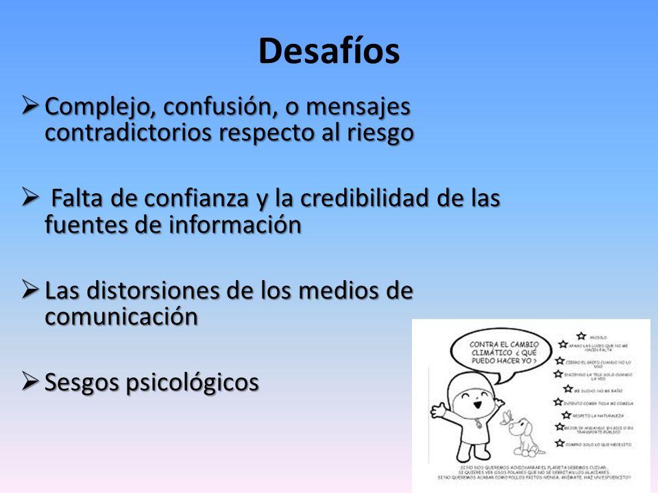Desafíos Complejo, confusión, o mensajes contradictorios respecto al riesgo Complejo, confusión, o mensajes contradictorios respecto al riesgo Falta d