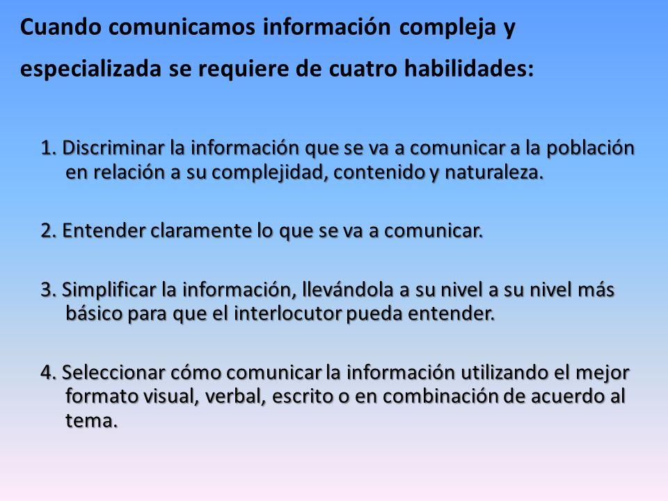 Cuando comunicamos información compleja y especializada se requiere de cuatro habilidades: 1. Discriminar la información que se va a comunicar a la po