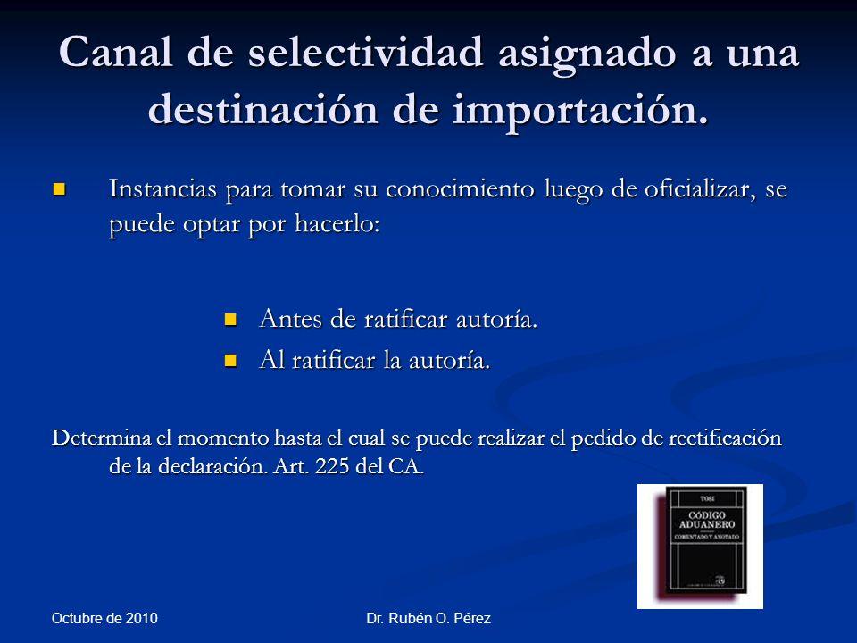 Dr.Rubén O. Pérez Canal de selectividad asignado a una destinación de importación.