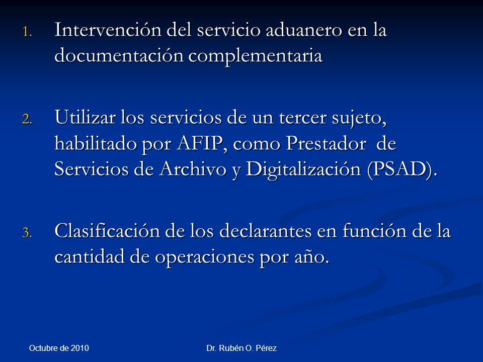 Dr.Rubén O. Pérez 1. Intervención del servicio aduanero en la documentación complementaria 2.