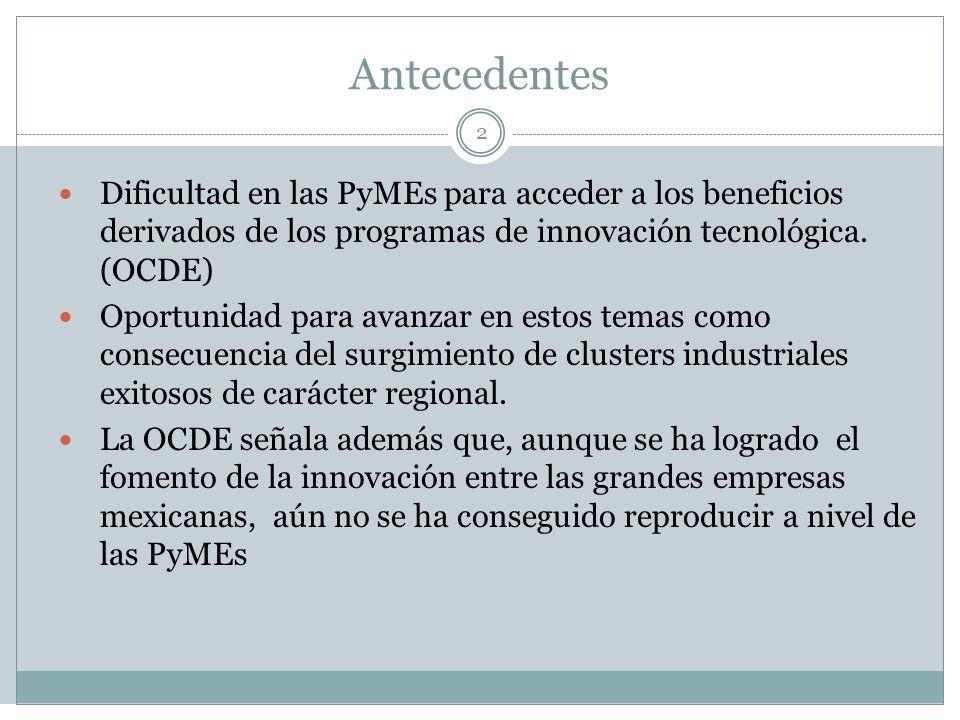 Antecedentes 2 Dificultad en las PyMEs para acceder a los beneficios derivados de los programas de innovación tecnológica. (OCDE) Oportunidad para ava