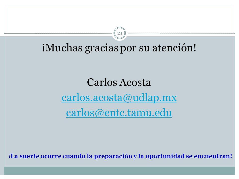 21 ¡Muchas gracias por su atención! Carlos Acosta carlos.acosta@udlap.mx carlos@entc.tamu.edu ¡La suerte ocurre cuando la preparación y la oportunidad