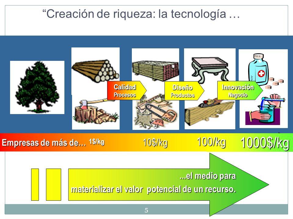 $ Creación de riqueza: la tecnología …...el medio para materializar el valor potencial de un recurso. 10$/kg 1$/kg 100/kg 1000$/kg CalidadProcesos Dis
