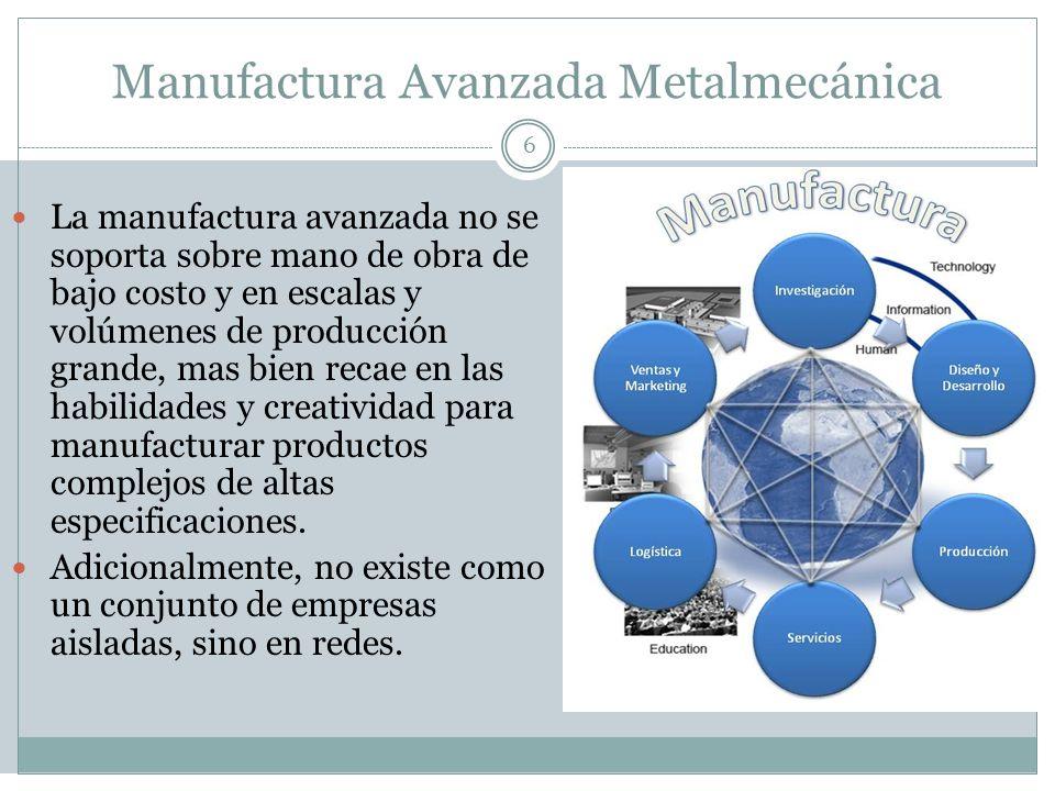 Manufactura Avanzada Metalmecánica 6 La manufactura avanzada no se soporta sobre mano de obra de bajo costo y en escalas y volúmenes de producción gra
