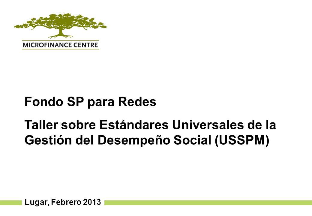 Lugar, Febrero 2013 Fondo SP para Redes Taller sobre Estándares Universales de la Gestión del Desempeño Social (USSPM)